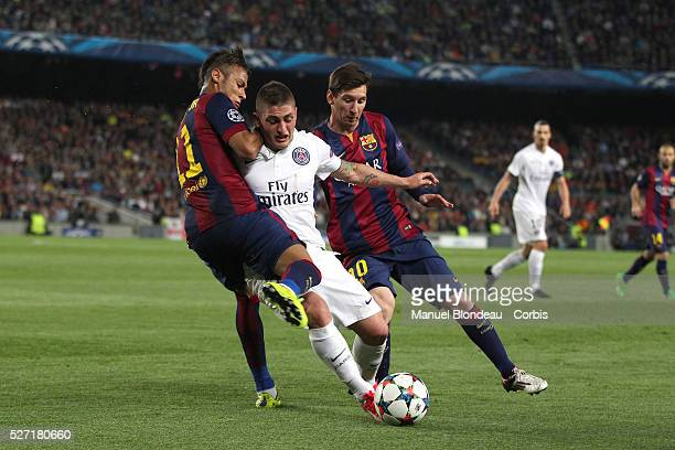 Lionel Messi and Neymar of FC Barcelona duels for the ball with Marco Verratti of Paris SG during the UEFA Champions League quarter final second leg...