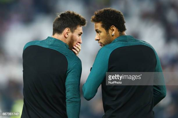 Lionel Messi and Neymar of FC Barcelona during the UEFA Champions League Quarter Final first leg match between Juventus and FC Barcelona at Juventus...