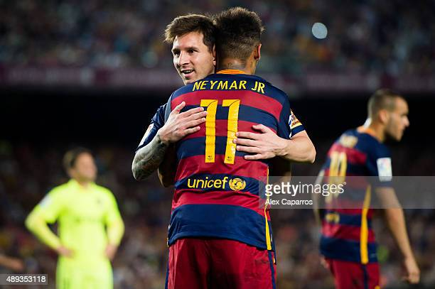 Lionel Messi and Neymar Santos Jr of FC Barcelona celebrate before a penalty shot for their team during the La Liga match between FC Barcelona and...