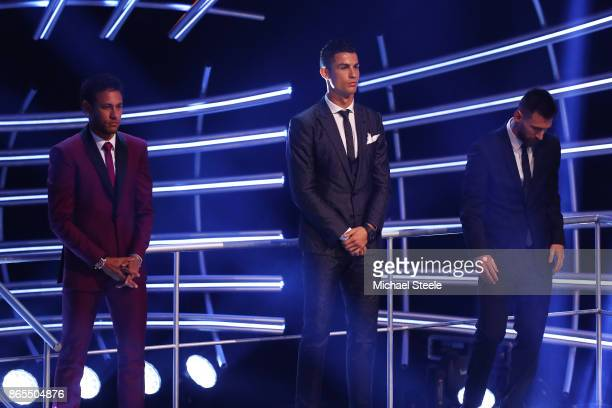 Lionel Messi Cristiano Ronaldo and Neymar are named in The Fifa FifPro World XI during The Best FIFA Football Awards Show on October 23 2017 in...