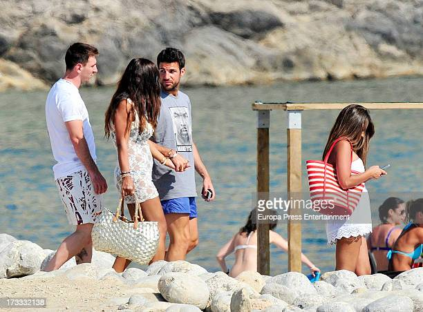 Lionel Messi Daniella Semaan Cesc Fabregas and Antonella Rocuzzo are seen on July 11 2013 in Ibiza Spain