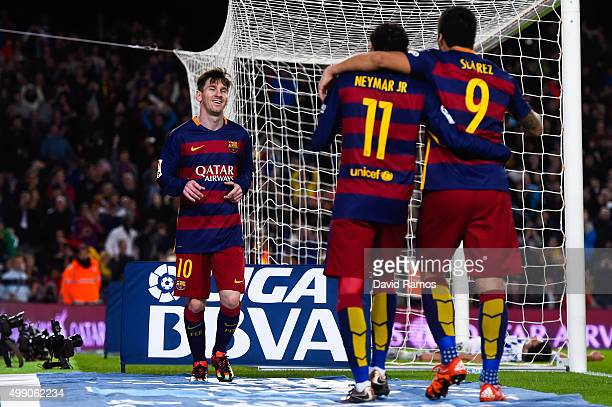 Lionel Messi FC Barcelona celebrates with his teammates Neymar and Luis Suarez of FC Barcelona after scoring his team's fourth goal during the La...