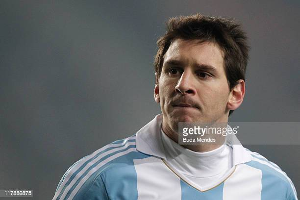 Lionel Messi gestures during a match as part of Group A of Copa America 2011 at Cuidad de La Plata Stadium on July 01 2011 in La Plata Argentina