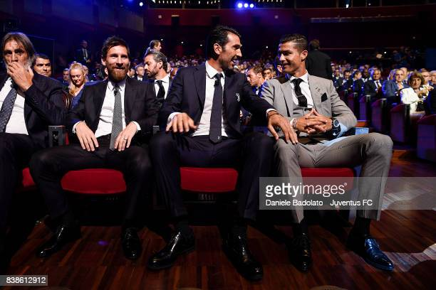 Lionel Messi Gianluigi Buffon and Cristiano Ronaldo during the UEFA Champions League 2017/18 Draw on August 24 2017 in Monaco Monaco
