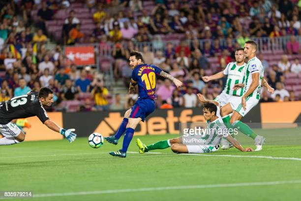 Lionel Messi goal action during the match between FC Barcelona vs Real Betis Balompie for the round 1 of the Liga Santander played at Camp Nou...