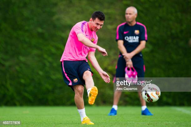 Lionel Messi in action during a FC Barcelona training session at Ciutat Esportiva on August 17 2014 in Barcelona Spain