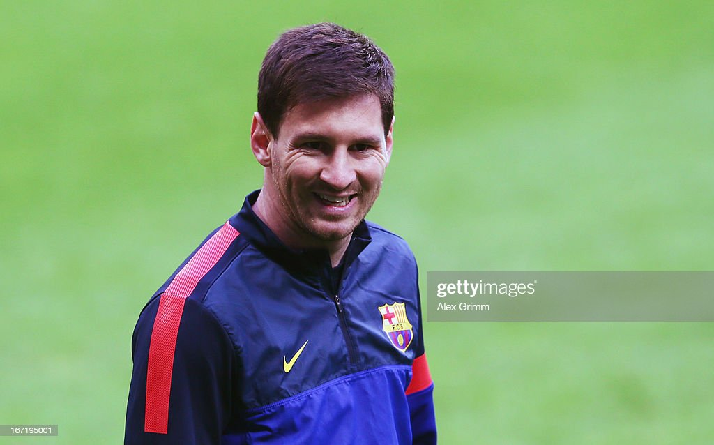 Lionel Messi looks on during a FC Barcelona training session ahead of their UEFA Champions League Semi Final first leg match against FC Bayern Muenchen on April 22, 2013 in Munich, Germany.