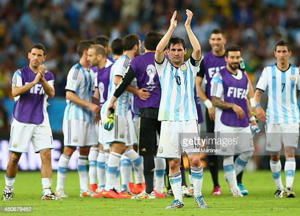 Lionel Messi of Argentina acknowledges the fans after defeating Bosnia and Herzegovina 21 during the 2014 FIFA World Cup Brazil Group F match between...