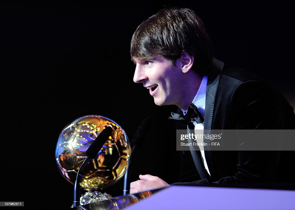 Lionel Messi of Argentina and Barcelona FC receives the FIFA player of the year award during the FIFA Ballon d'Or Gala 2010 t the congress hall on January 10, 2011 in Zurich, Switzerland.