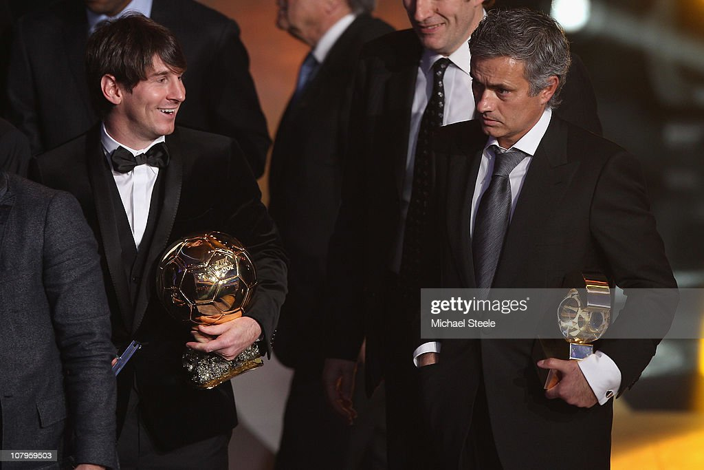Lionel Messi (l) of Argentina and Barcelona FC winner of the men's player of the year alongside Jose Mourinho (r) of Portugal and Real Madrid FC winner of coach of the yea award during the FIFA Ballon d'or Gala at the Zurich Kongresshaus on January 10, 2011 in Zurich, Switzerland.
