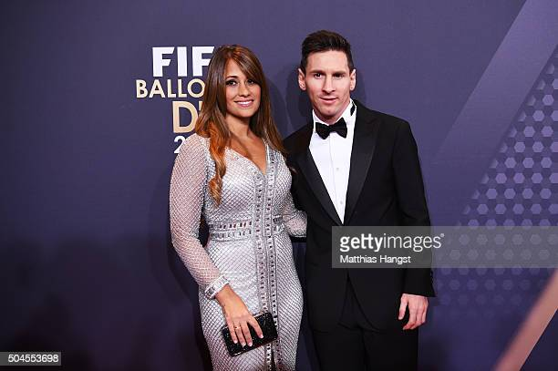 Lionel Messi of Argentina and FC Barcelona and his partner Antonella Roccuzzo attend the FIFA Ballon d'Or Gala 2015 at the Kongresshaus on January 11...