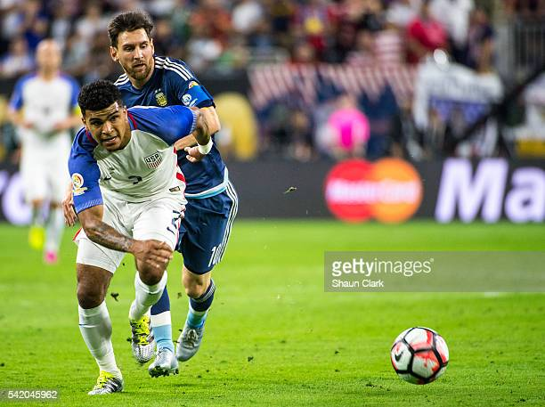 Lionel Messi of Argentina battles DeAndre Yedlin of United States during the Copa America Centenario Semifinal match between United States and...