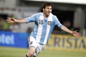 Lionel Messi of Argentina celebrates a goal during a match between Argentina and Chile as part of the South American Qualifiers for the FIFA Brazil...