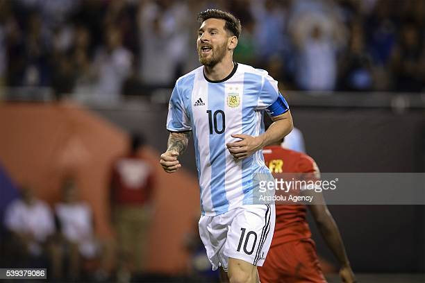 Lionel Messi of Argentina celebrates a goal during the 2016 Copa America Centenario Group D match between Argentina vs Panama at the Soldier Field on...
