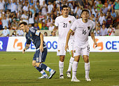 Lionel Messi of Argentina celebrates a goal in front of Ronald Raldes and Ronald Eguino of Bolivia during their International friendly match at BBVA...