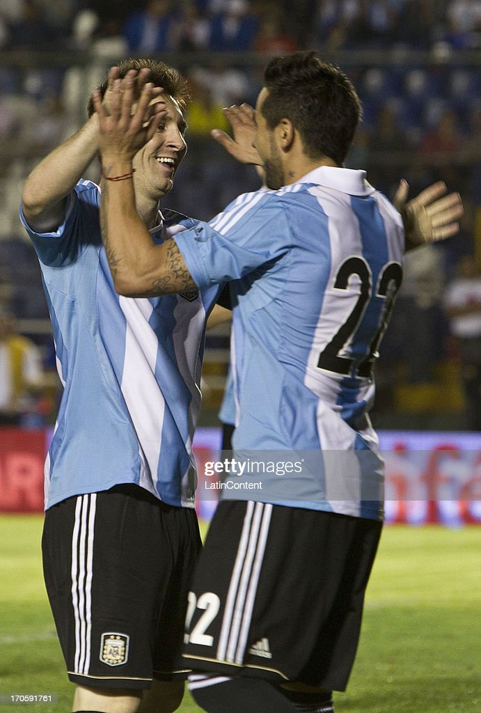 <a gi-track='captionPersonalityLinkClicked' href=/galleries/search?phrase=Lionel+Messi&family=editorial&specificpeople=453305 ng-click='$event.stopPropagation()'>Lionel Messi</a> of Argentina celebrates a socored agoal during a friendly soccer match between Argentina and Guatemala at Mateo Flores stadium on June 14 in Guatemala City, Guatemala.