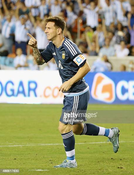 Lionel Messi of Argentina celebrates after he scores a goal past Dainel Vaca of Bolivia during their international friendly match at BBVA Compass...