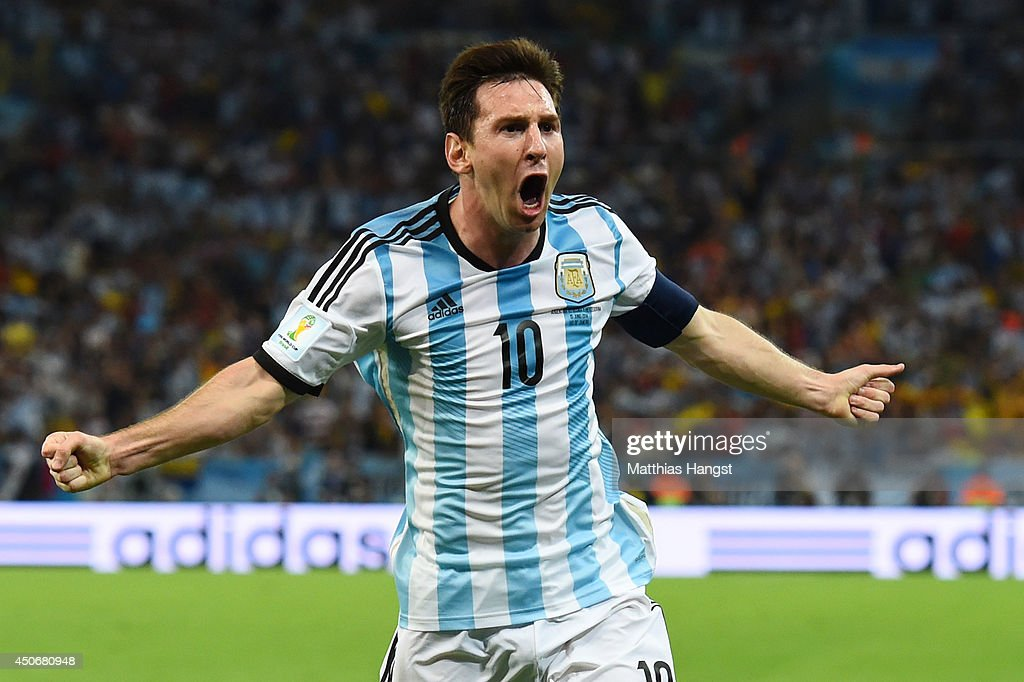 <a gi-track='captionPersonalityLinkClicked' href=/galleries/search?phrase=Lionel+Messi&family=editorial&specificpeople=453305 ng-click='$event.stopPropagation()'>Lionel Messi</a> of Argentina celebrates after scoring his team's second goal during the 2014 FIFA World Cup Brazil Group F match between Argentina and Bosnia-Herzegovina at Maracana on June 15, 2014 in Rio de Janeiro, Brazil.