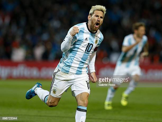 Lionel Messi of Argentina celebrates after scoring the first goal of his team during a match between Argentina and Uruguay as part of FIFA 2018 World...