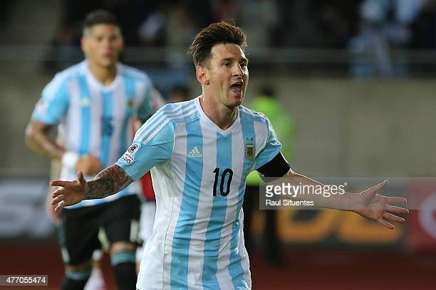 Lionel Messi of Argentina celebrates after scoring the second goal of his team through a penalty kick during the 2015 Copa America Chile Group B...