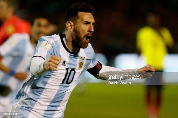 Lionel Messi of Argentina celebrates after scoring the second goal of his team during a match between Ecuador and Argentina as part of FIFA 2018...