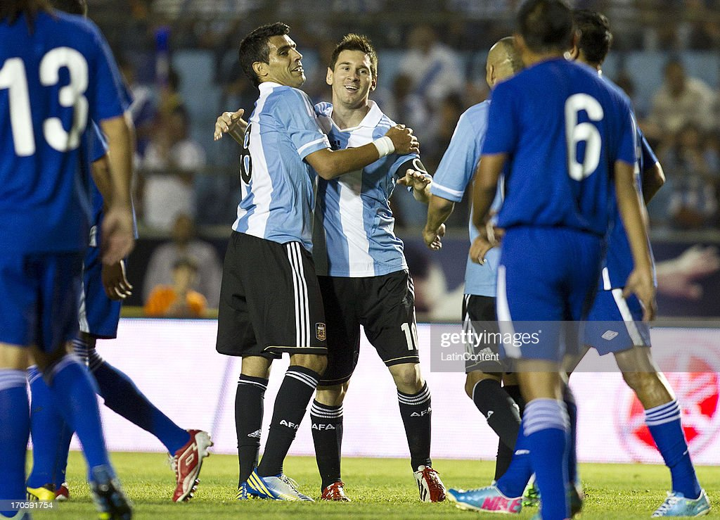 <a gi-track='captionPersonalityLinkClicked' href=/galleries/search?phrase=Lionel+Messi&family=editorial&specificpeople=453305 ng-click='$event.stopPropagation()'>Lionel Messi</a> of Argentina celebrates during a friendly soccer match between Argentina and Guatemala at Mateo Flores stadium on June 14 in Guatemala City, Guatemala.