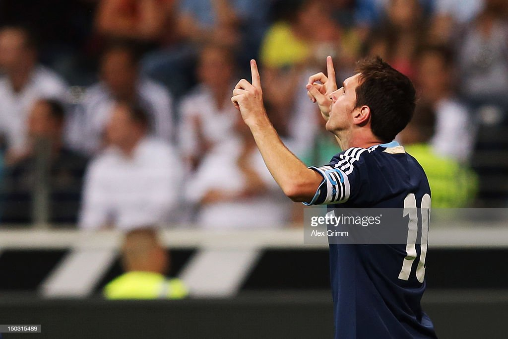 Lionel Messi of Argentina celebrates his team's second goal during the international friendly match between Germany and Argentina at Commerzbank-Arena on August 15, 2012 in Frankfurt am Main, Germany.