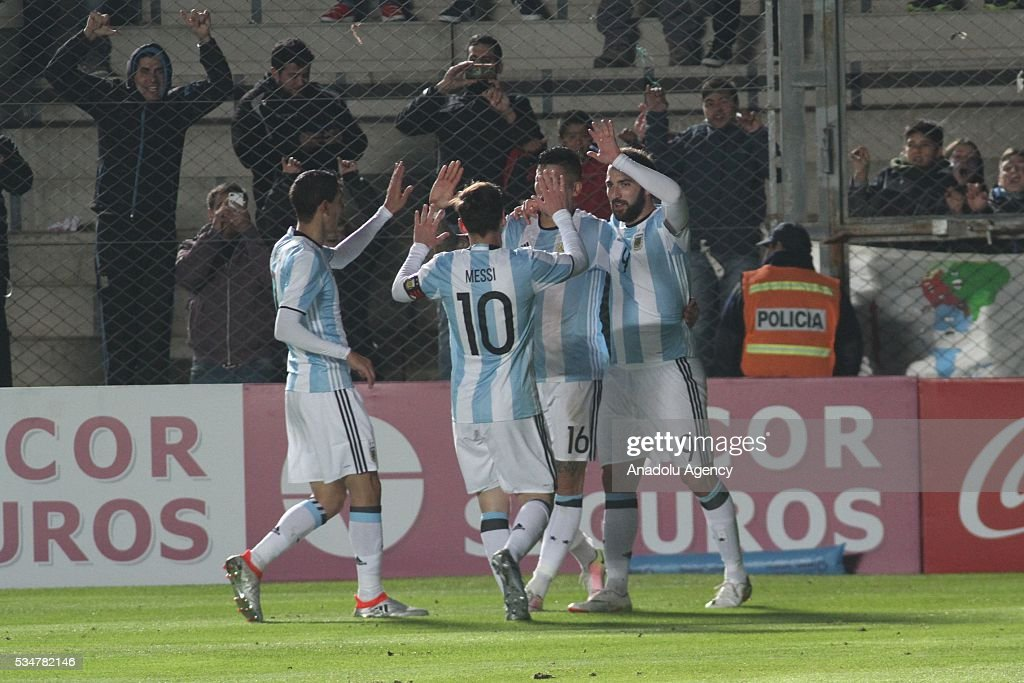Lionel Messi of Argentina celebrates with his team mates after scoring a goal during a friendly match between Argentina and Honduras at Bicentenario stadium in San Juan, Argentina on May 27, 2016.