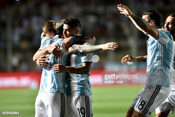 Lionel Messi of Argentina celebrates with teammates after scoring the opening goal during a match between Argentina and Colombia as part of FIFA 2018...