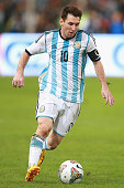 Lionel Messi of Argentina competes the ball during Super Clasico de las Americas between Argentina and Brazil at Beijing National Stadium on October...