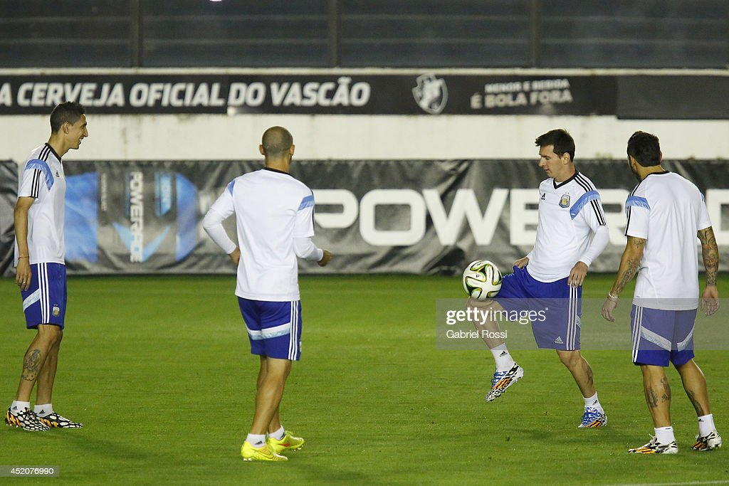 <a gi-track='captionPersonalityLinkClicked' href=/galleries/search?phrase=Lionel+Messi&family=editorial&specificpeople=453305 ng-click='$event.stopPropagation()'>Lionel Messi</a> of Argentina controls the ball during a training session prior to the World Cup final match between Argentina and Germany at Sao Januario Stadium on July 12, 2014 in Rio de Janeiro, Brazil.
