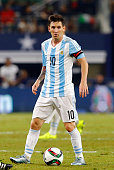 Lionel Messi of Argentina controls the ball during the international friendly match between Argentina and Mexico at ATT Stadium on September 08 2015...