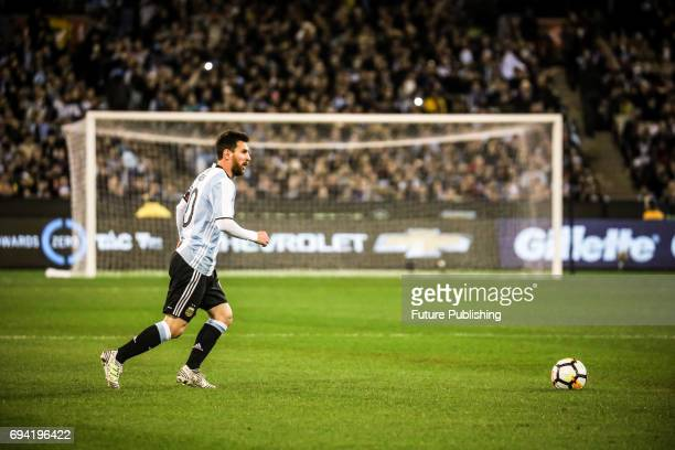 Lionel Messi of Argentina dribbles the ball as Brazil plays Argentina in the Chevrolet Brasil Global Tour on June 9 2017 in Melbourne Australia Chris...