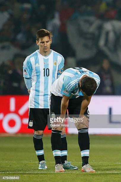 Lionel Messi of Argentina drives the ball after missing the 2015 Copa America Chile Final match between Chile and Argentina at Nacional Stadium on...