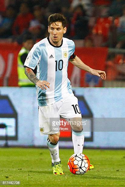 Lionel Messi of Argentina drives the ball during the match between Chile and Argentina as part of FIFA 2018 World Cup Qualifiers at Nacional Stadium...