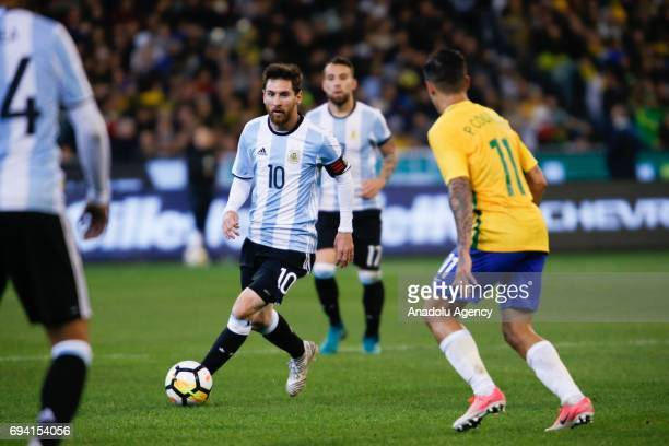 Lionel Messi of Argentina during a friendly football international between Argentina and Brazil at the Melbourne Cricket Ground in Melbourne...