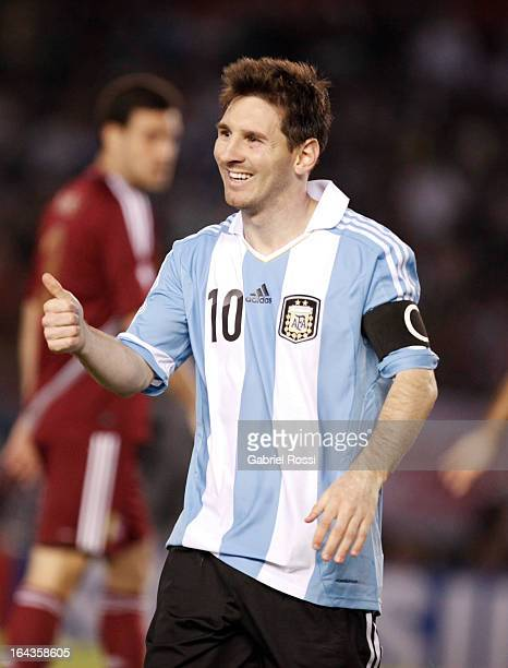 Lionel Messi of Argentina gestures during a match between Argentina and Venezuela as part of the 11th round of the South American Qualifiers for the...