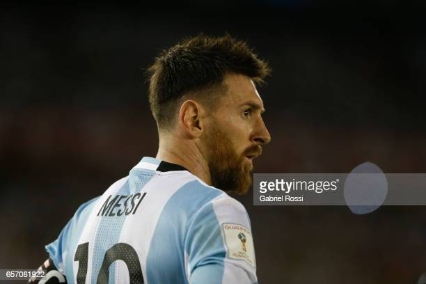 Lionel Messi of Argentina gestures during a match between Argentina and Chile as part of FIFA 2018 World Cup Qualifiers at Monumental Stadium on...