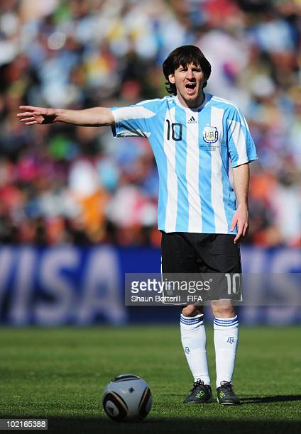 Lionel Messi of Argentina gestures during the 2010 FIFA World Cup South Africa Group B match between Argentina and South Korea at Soccer City Stadium...