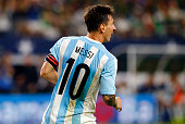 Lionel Messi of Argentina gestures during the international friendly match between Argentina and Mexico at ATT Stadium on September 08 2015 in...