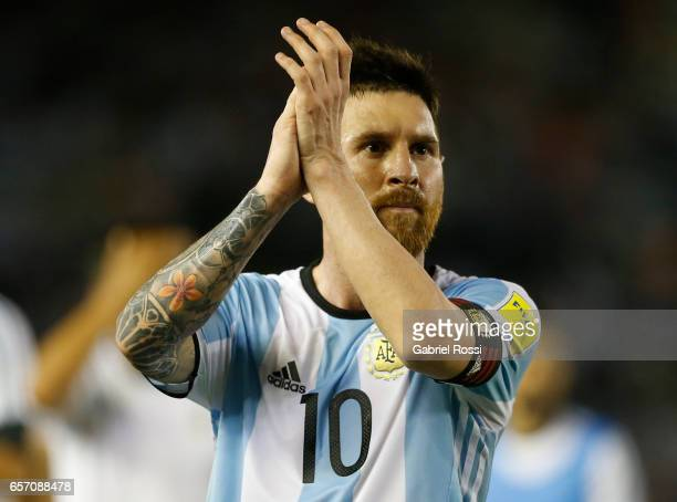 Lionel Messi of Argentina greets the fans after a match between Argentina and Chile as part of FIFA 2018 World Cup Qualifiers at Monumental Stadium...