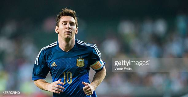 Lionel Messi of Argentina in action during the International Friendly Match between Hong Kong and Argentina at the Hong Kong Stadium on October 14...