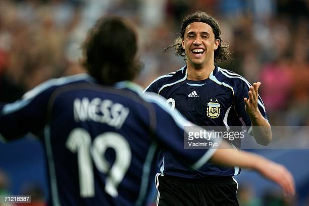 Lionel Messi of Argentina is congratulated by Hernan Crespo of Argentina after Crespo scored the fourth goal during the FIFA World Cup Germany 2006...