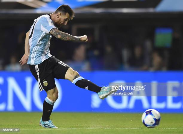 Lionel Messi of Argentina kicks the ball during a match between Argentina and Peru as part of FIFA 2018 World Cup Qualifiers at Estadio Alberto J...