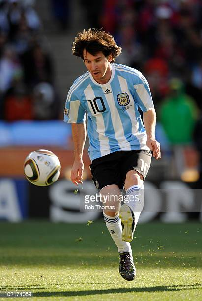 Lionel Messi of Argentina kicks the ball during the 2010 FIFA World Cup South Africa Group B match between Argentina and South Korea at Soccer City...