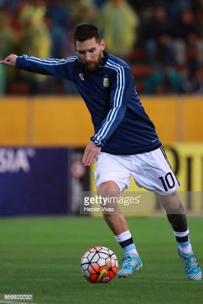 Lionel Messi of Argentina kicks the ball prior a match between Ecuador and Argentina as part of FIFA 2018 World Cup Qualifiers at Olimpico Atahualpa...