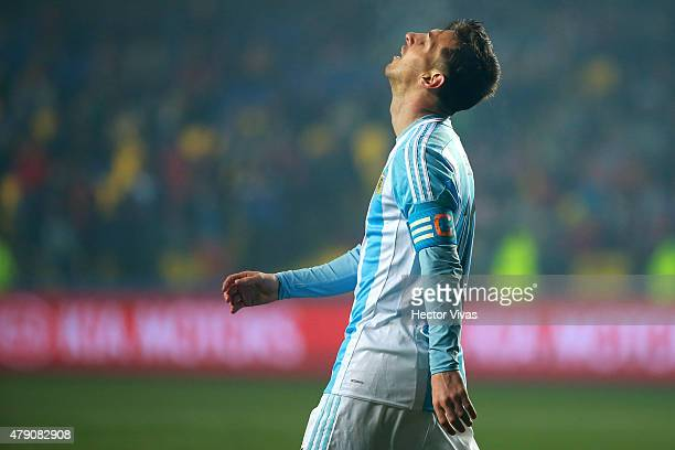 Lionel Messi of Argentina laments after missing a chance at goal during the 2015 Copa America Chile Semi Final match between Argentina and Paraguay...