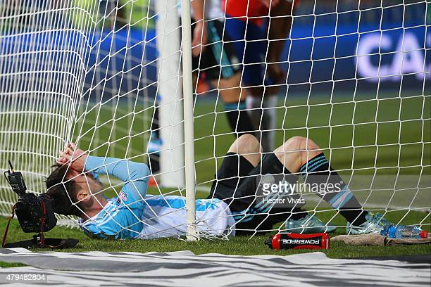 Lionel Messi of Argentina laments after missing a chance at goal during the 2015 Copa America Chile Final match between Chile and Argentina at...