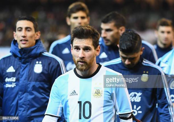 Lionel Messi of Argentina leaves the field during the Brazil Global Tour match between Brazil and Argentina at Melbourne Cricket Ground on June 9...