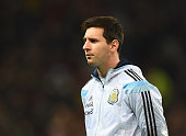 Lionel Messi of Argentina lines up for the International Friendly match between Argentina and Portugal at Old Trafford on November 18 2014 in...